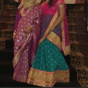 Dresses & Skirts - Pink and teal lengha